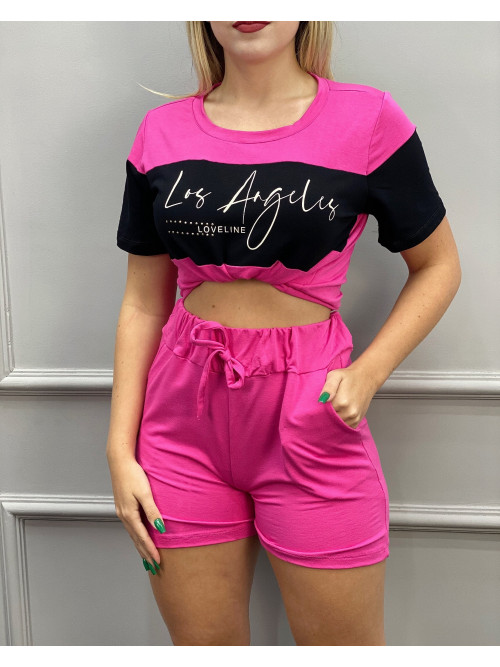 Conjunto short e t-shirt Los Angeles / Pink